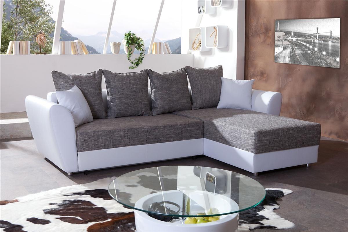 Kasper-Wohndesign Ecksofa mit Bettfunktion Kunstleder weiß und Stoff grau »CAPRI«