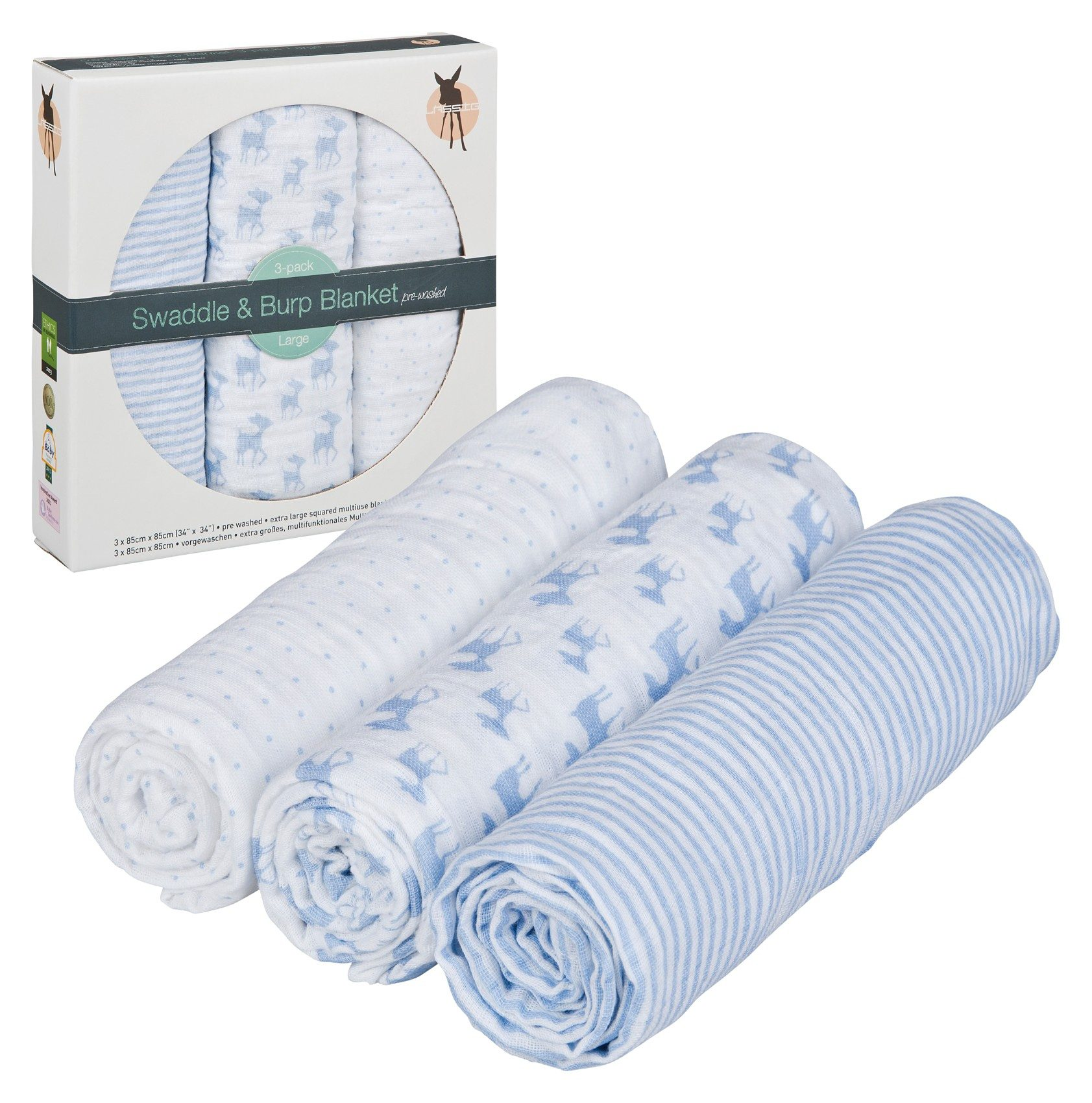 Lässig Mullwindeln Lela, 3er Pack, 85 x 85 cm, light blue