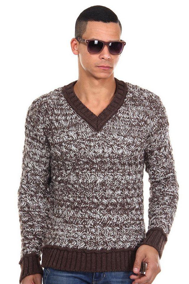 R-NEAL Pullover V-Ausschnitt slim fit in braun