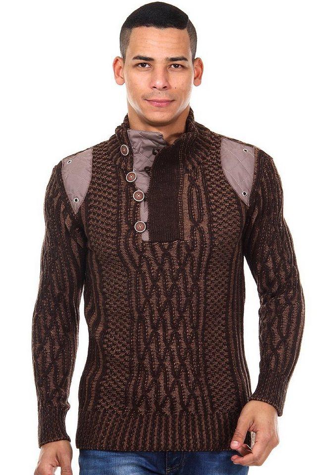 R-NEAL Pullover Stehkragen slim fit in braun/beige