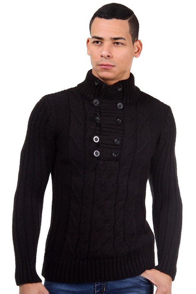 R-NEAL Pullover Rundals slim fit in schwarz