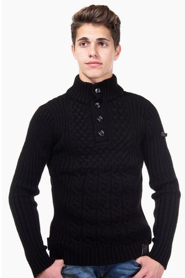R-NEAL Pullover Stehkragen slim fit in schwarz