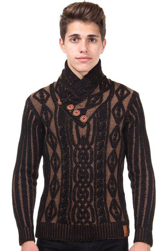 R-NEAL Pullover Schalkragen slim fit in schwarz/braun