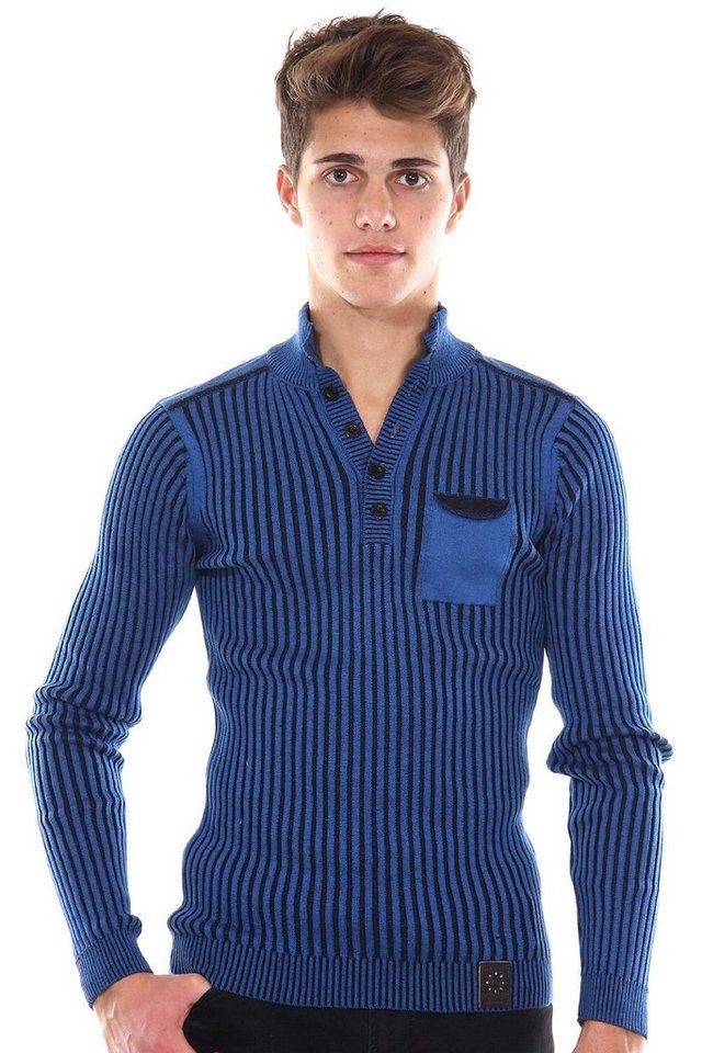 R-NEAL Pullover Rundhals mit Knopfleiste slim fit in blau