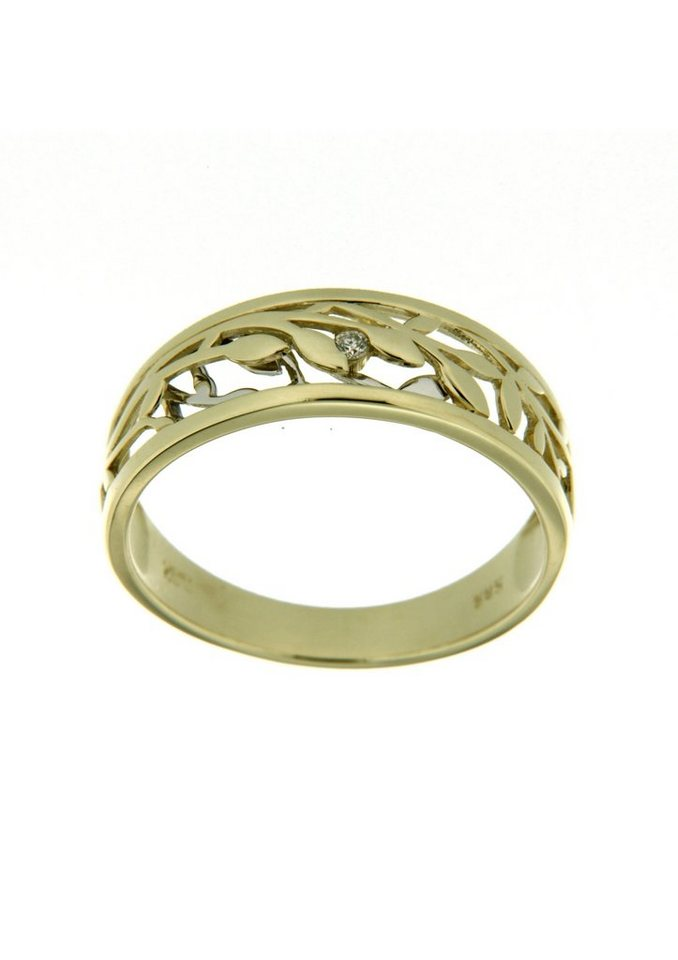 Vivance Jewels Ring mit Blättern und Diamant in Gelb-/Weißgold 333