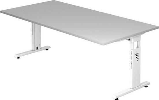 bümö Schreibtisch »OM-OS2E-W«, höhenverstellbar - Rechteck: 200x100 cm - Gestell: Weiß, Dekor: Grau