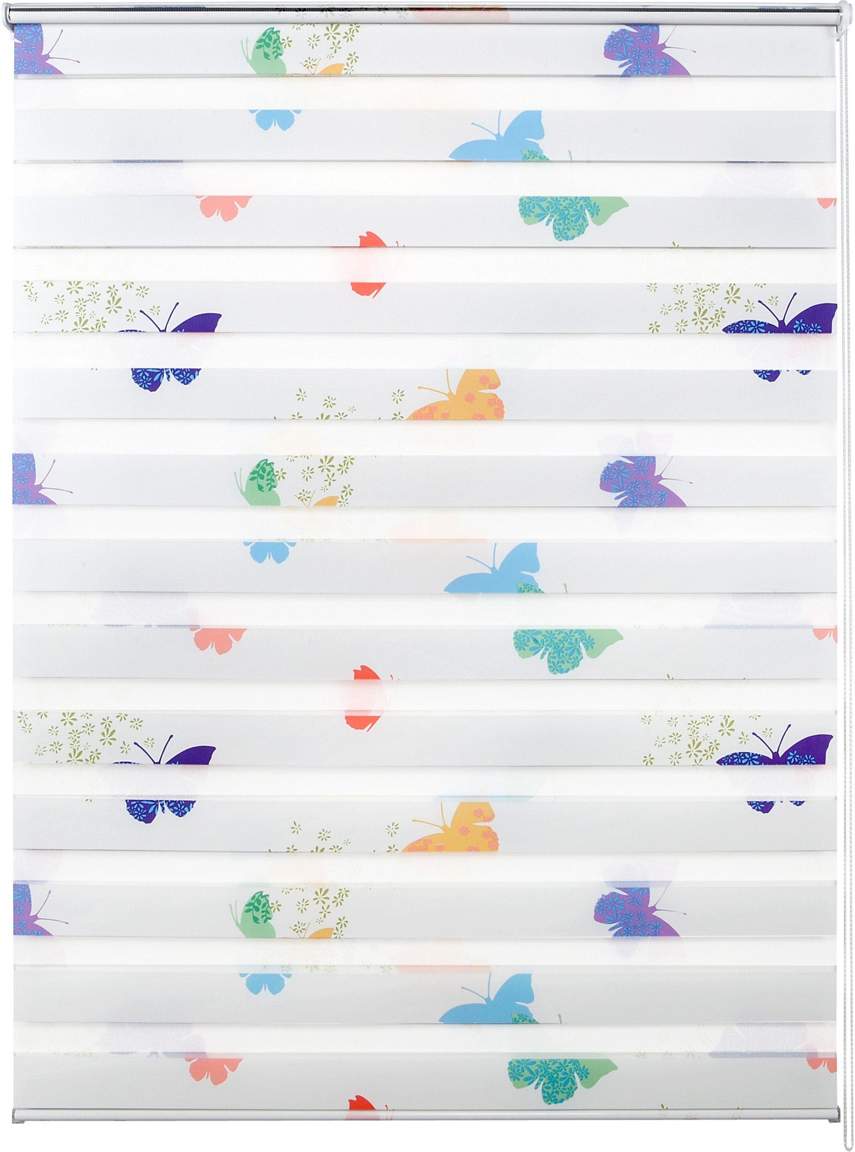 Doppelrollo, Good Life, »Leni«, im Wunschmaß, Rahmenmontage, ohne Bohren, Lichtschutz (1 Stck.), Schmetterlinge