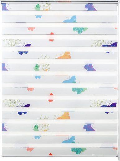 Doppelrollo nach Maß »Leni«, Good Life, Lichtschutz, ohne Bohren, freihängend, Rahmenmontage, 1 Stck., Schmetterlinge
