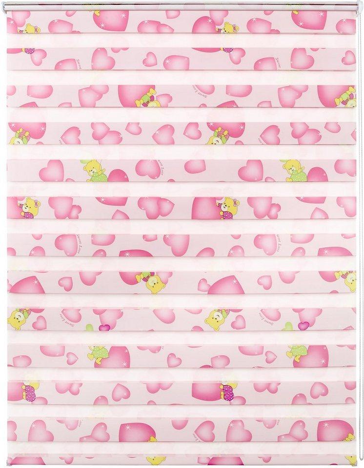Doppelrollo, Good Life, »Leni«, im Wunschmaß, Rahmenmontage, ohne Bohren, Lichtschutz (1 Stck.) in Teddy rosa