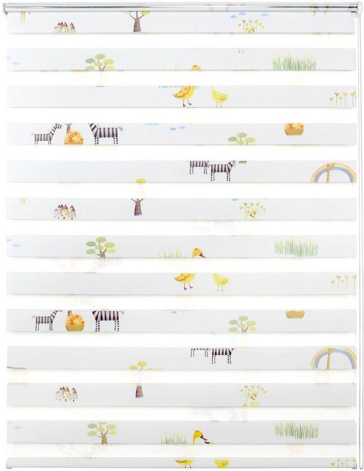 Doppelrollo, Good Life, »Leni«, im Wunschmaß, Rahmenmontage, ohne Bohren, Lichtschutz (1 Stck.) in Giraffe weiß-bunt