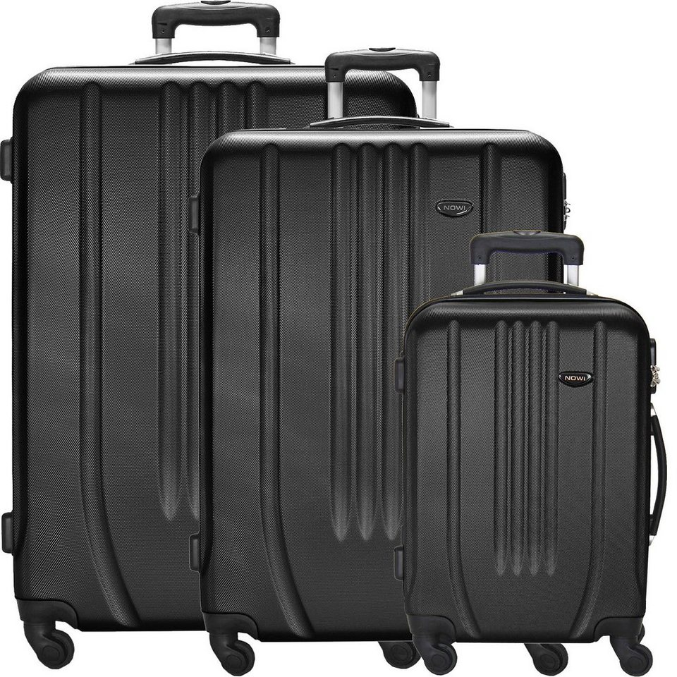 NOWI Hardshelled 4-Rollen Trolley Set 3-tlg. in schwarz
