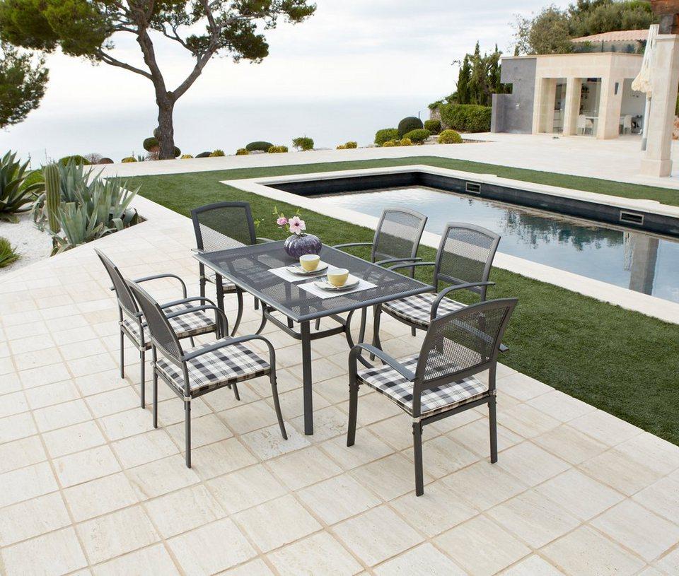 13-tgl. Gartenmöbelset »Montreal«, 6 Sessel + Auflagen, Tisch, Alu/Textil, schwarz-weiß in schwarz