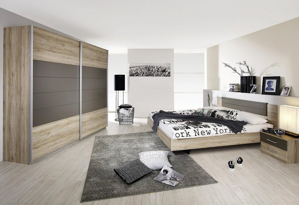 rauch Schlafzimmer-Set (4-tlg.) in eichefarben San Remo/lavagrau