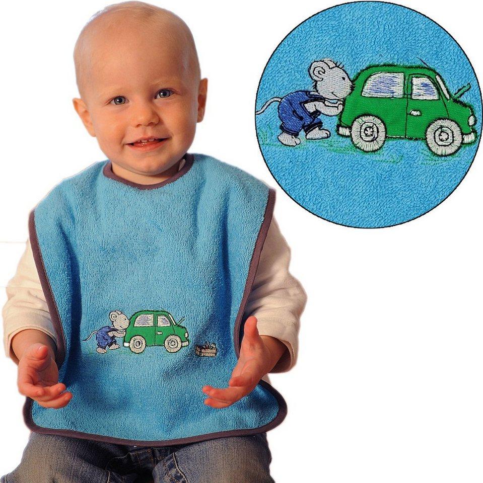 Wörner Lätzchen XXL, mit Klettverschluss, Maus/Auto, türkis, 30 x 4 in blau