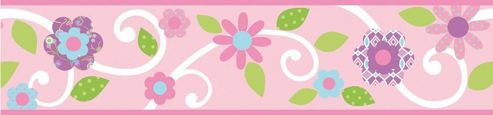 RoomMates Bordüre Blumenranke, rosa / weiß in rosa
