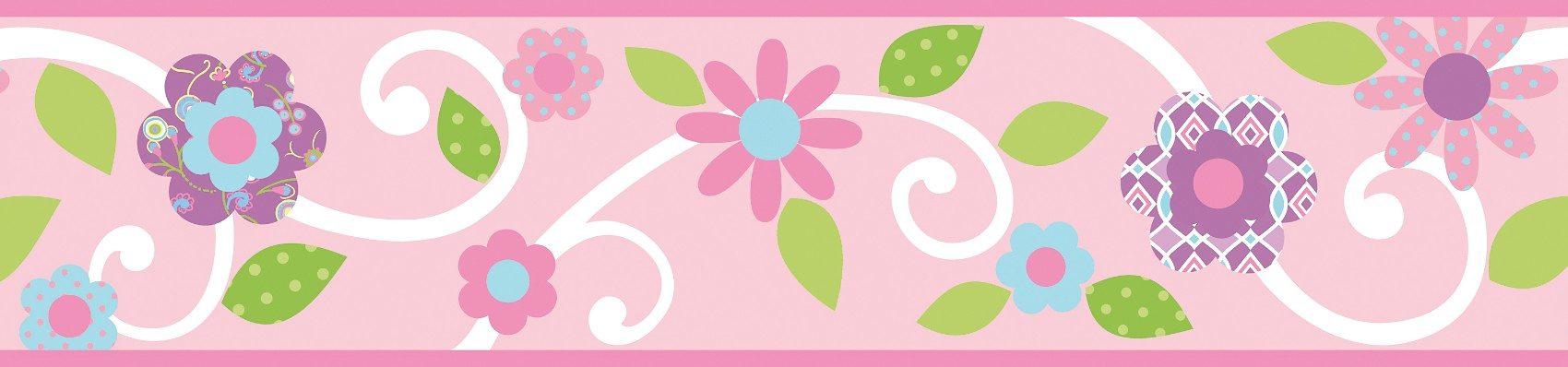 RoomMates Bordüre Blumenranke, rosa / weiß