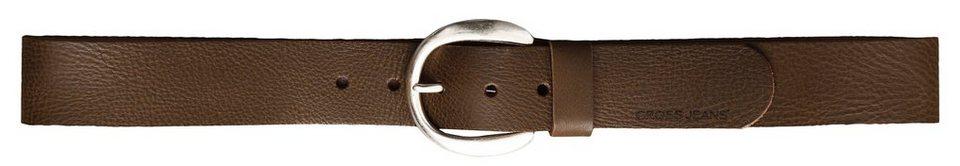 CROSS Jeans ® Gürtel - echt Leder mit runder Metalschließe in Brown