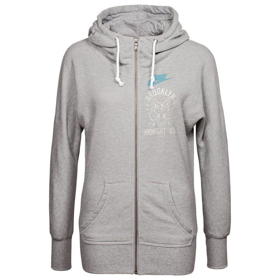 Nike Sportswear Brooklyn Wolf Kapuzenjacke Damen in grau / blau
