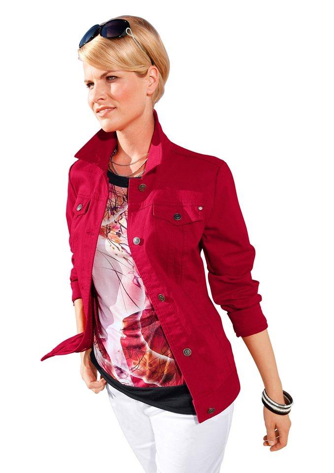 Création L Jeans-Jacke mit dekorativen, passformgebenden Teilungsnähte in rot