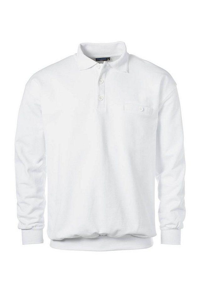 Pionier ® workwear Sweatshirt mit Polokragen in weiss