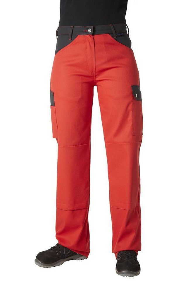 Pionier ® workwear 5-Pocket-Damenhose Top Comfort Stretch in rot/schwarz