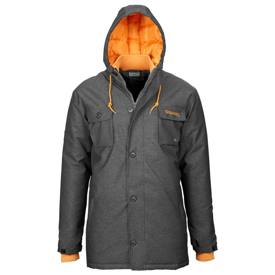 SPALDING Parka Herren in black jeans/orange