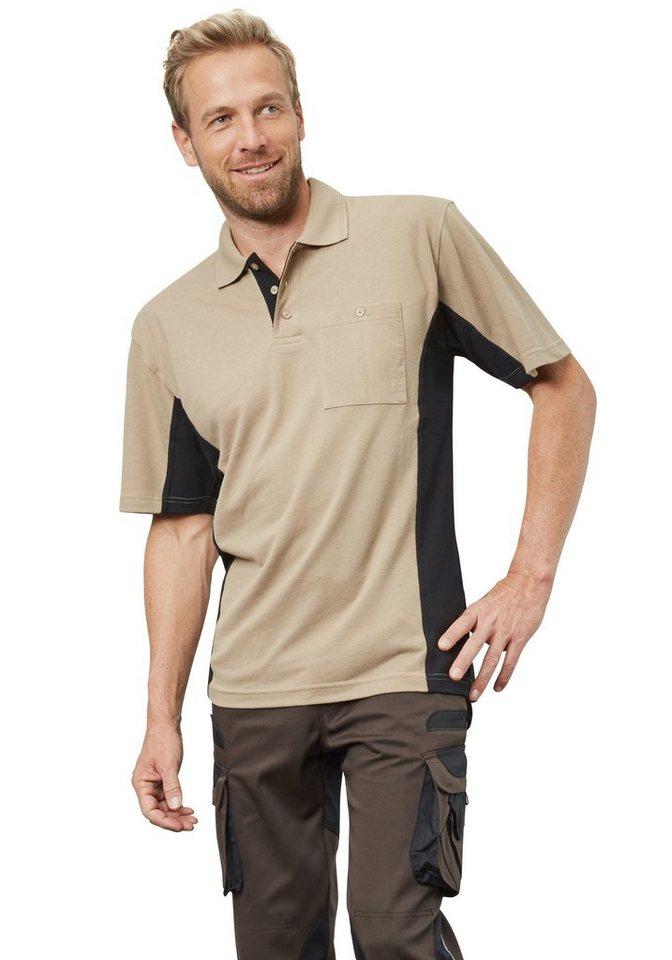 Pionier ® workwear Poloshirt-Piqué 2-farbig kurzarm in beige/schwarz