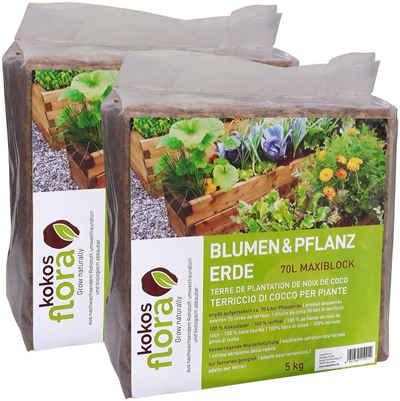 Floragard Pflanzerde »Kokosflora«, (2-St), Maxi Block ergibt aufgelockert 2x70 Liter