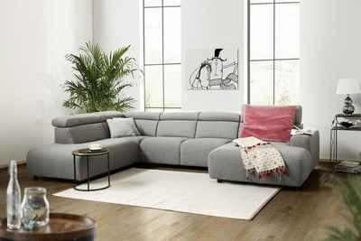 KAWOLA Sofa »RISO«, Wohnlandschaft U-Form Stoff grau Longchair wählbar