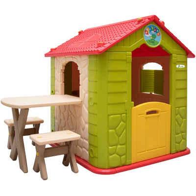 LittleTom Spielhaus Kinder Spielhaus ab 1 Garten Kinderhaus mit Tisch, Indoor Kinderspielhaus