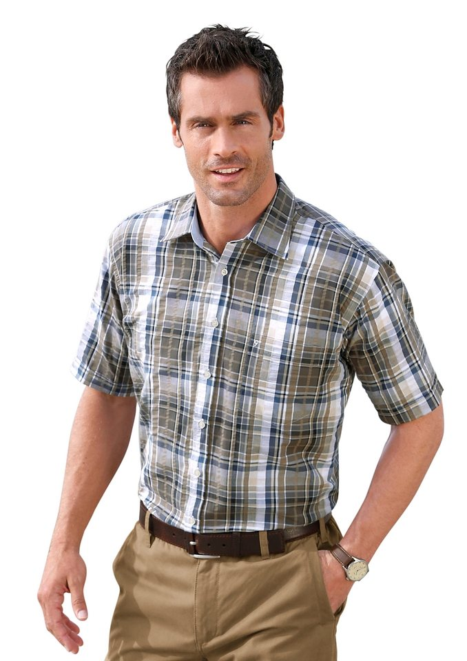 Maxclusiv Hemd aus reiner Baumwolle in taupe-kariert
