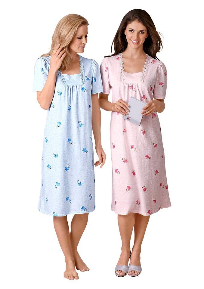 Nachthemden, Ascafa, Kurzarm (2 Stck.) in rosé + bleu
