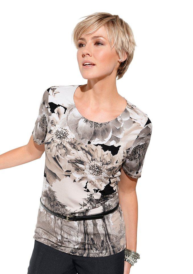 Alessa W. Shirt in Stretch Qualität in beige-bedruckt