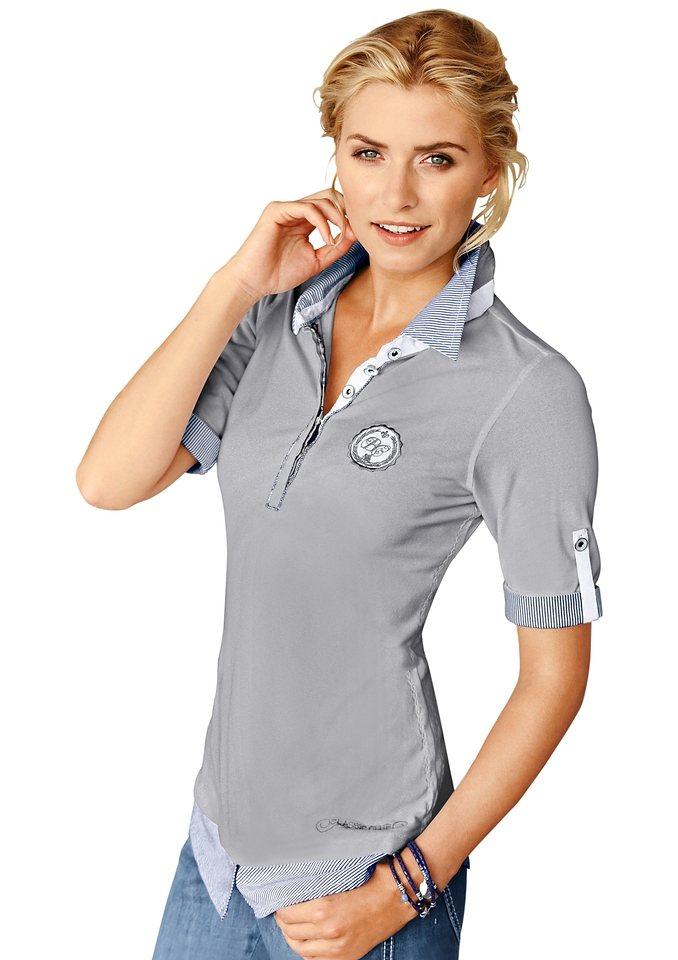 Classic Inspirationen Poloshirt in sommerlicher Pikee-Qualität in hellgrau-meliert