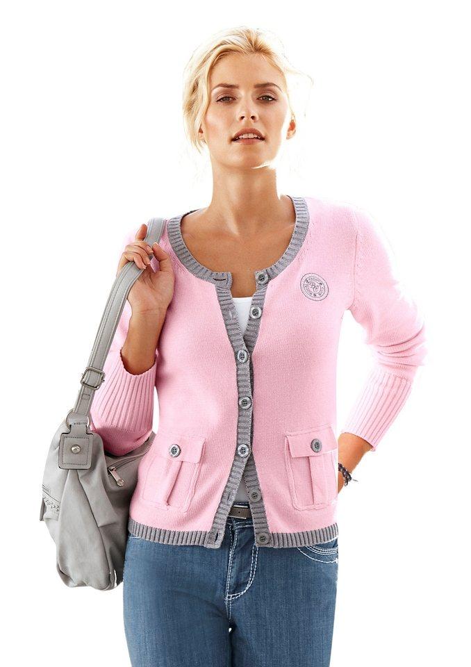 Classic Inspirationen Strickjacke mit aufgesticktem Emblem in rosé