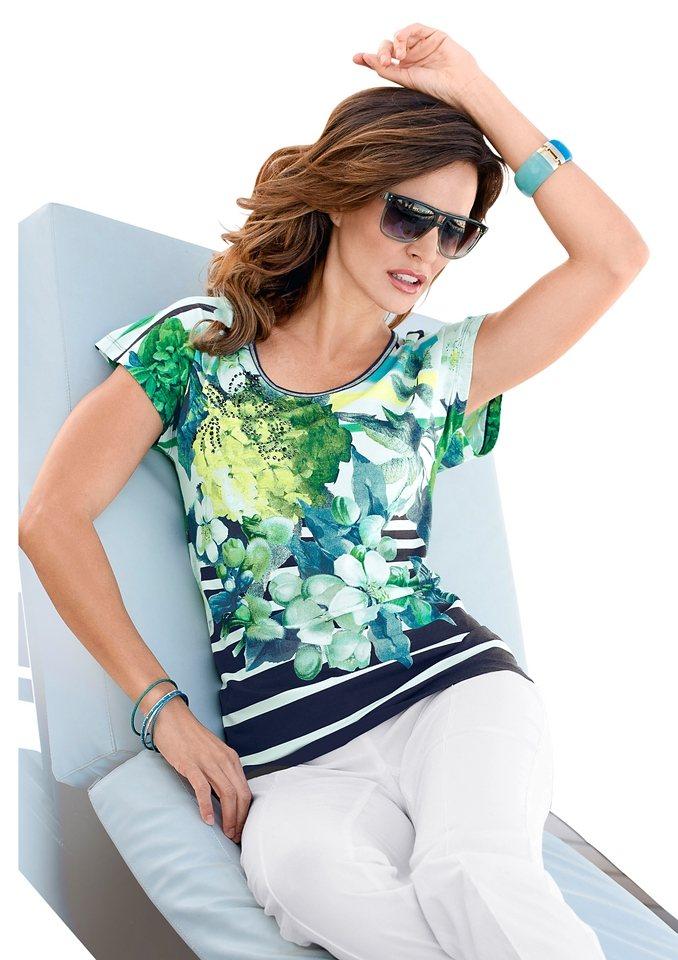 Alessa W. Shirt mit Metallplättchen geschmückt in marine-grün-bedruckt