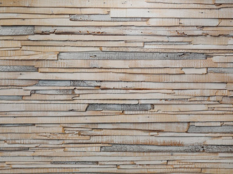 Fototapete, Komar, »Whitewashed Wood«, 368/254 cm in beige/braun