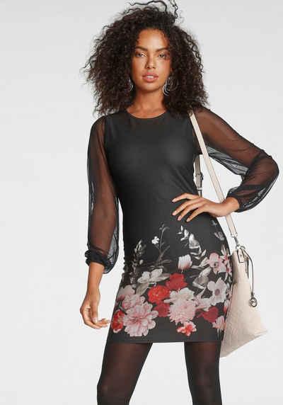 Melrose Jerseykleid mit bedruckten Ärmeln aus Mesh - NEUE KOLLEKTION