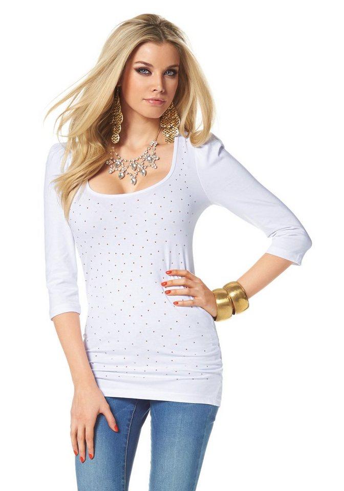 Melrose Longshirt mit Glitzersteinen in weiß