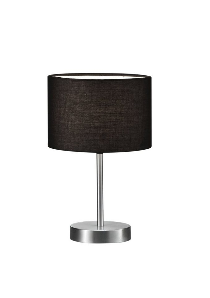 Trio Tischleuchte, 1flammig, ohne Leuchtmittel in Tischleuchte, nickel matt, Stoffschirm, schwarz