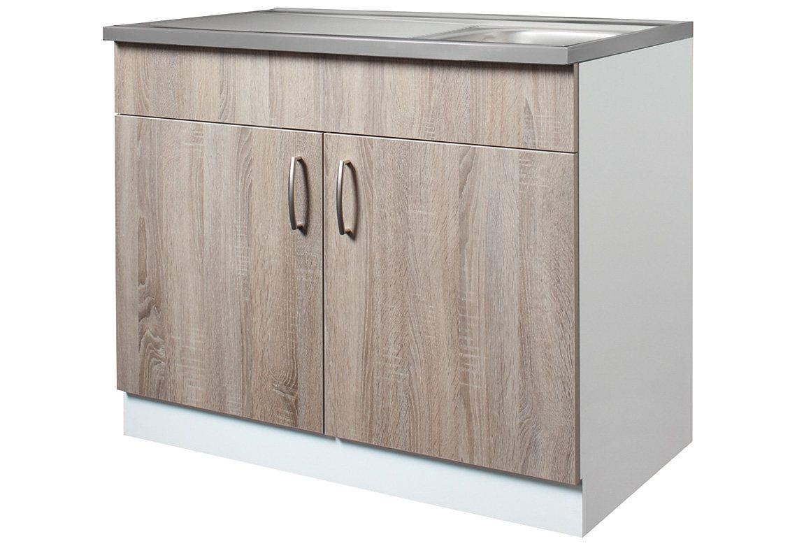 Wiho Küchen Spülenschrank »Porto«, Breite 100 cm | Küche und Esszimmer > Küchenschränke > Spülenschränke | Eiche - Holzwerkstoff | wiho Küchen