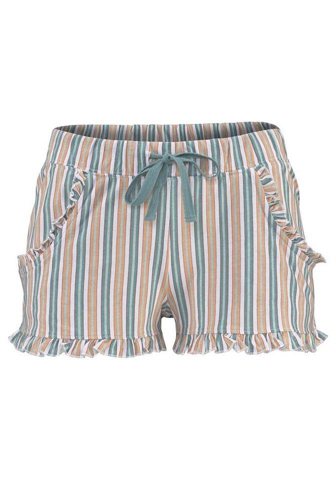 LASCANA Shorts mit dezentem Rüschenbesatz in mint gestreift