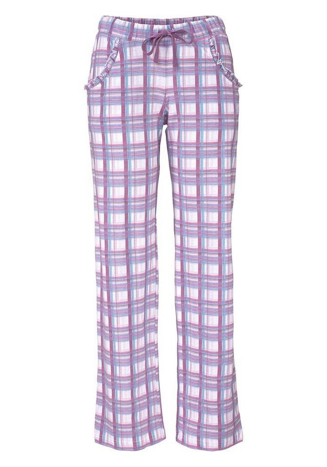 LASCANA Pyjamahose aus weichem Singlejersey in lila kariert