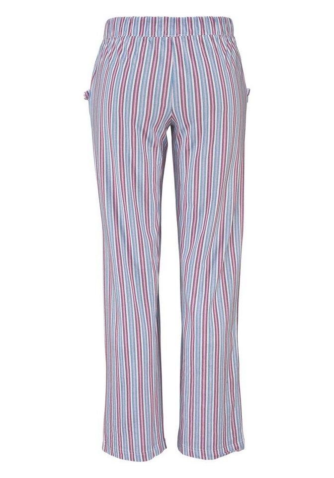 LASCANA Pyjamahose aus weichem Singlejersey in lila gestreift
