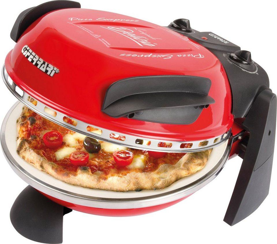 G3Ferrari Pizzamaker Delizia G10006, 1200 Watt, Temperatur bis 390°, mit feuerfestem Naturstein in rot