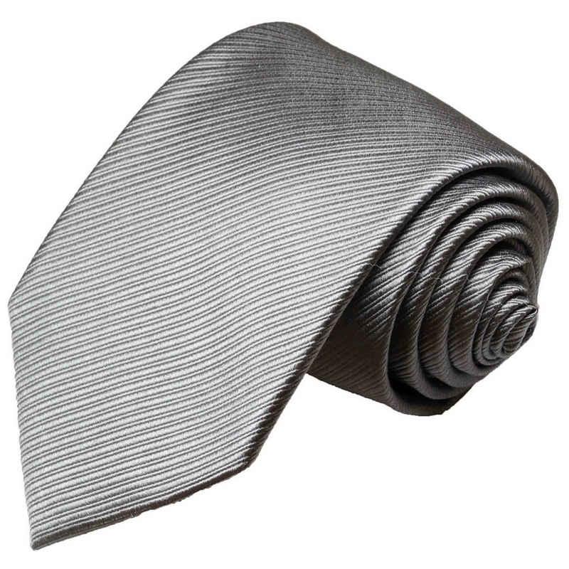 Paul Malone Krawatte »Herren Seidenkrawatte Designer Schlips modern einfarbig 100% Seide« Breit (8cm), silber grau 977