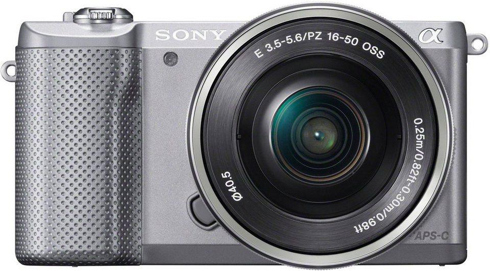 Sony Alpha ILCE-5000L System Kamera, SEL-P1650 Zoom, 20,1 Megapixel, 7,5 cm (3 Zoll) Display in silberfarben