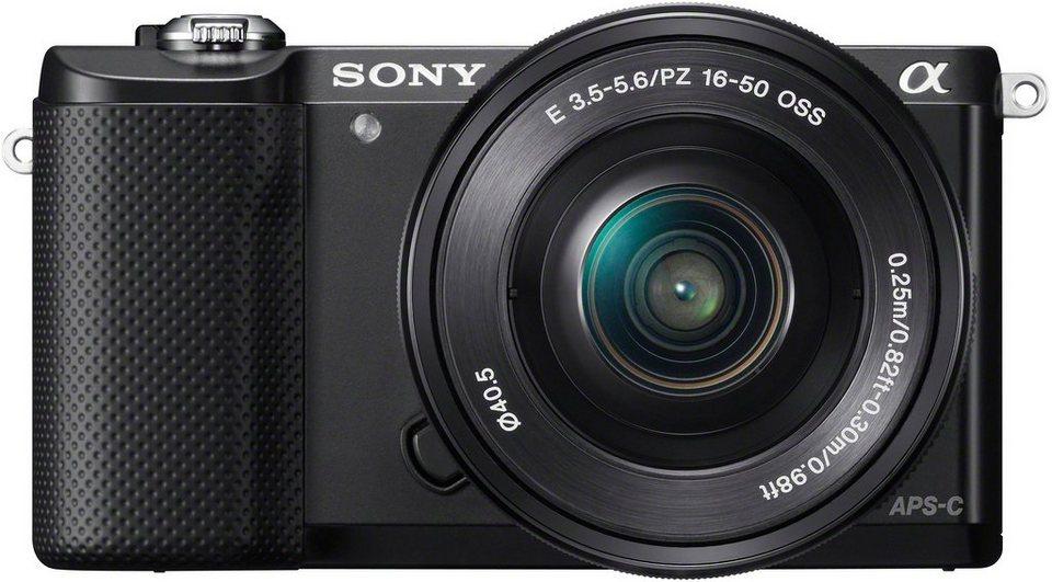 Sony Alpha ILCE-5000L System Kamera, SEL-P1650 Zoom, 20,1 Megapixel, 7,5 cm (3 Zoll) Display in schwarz