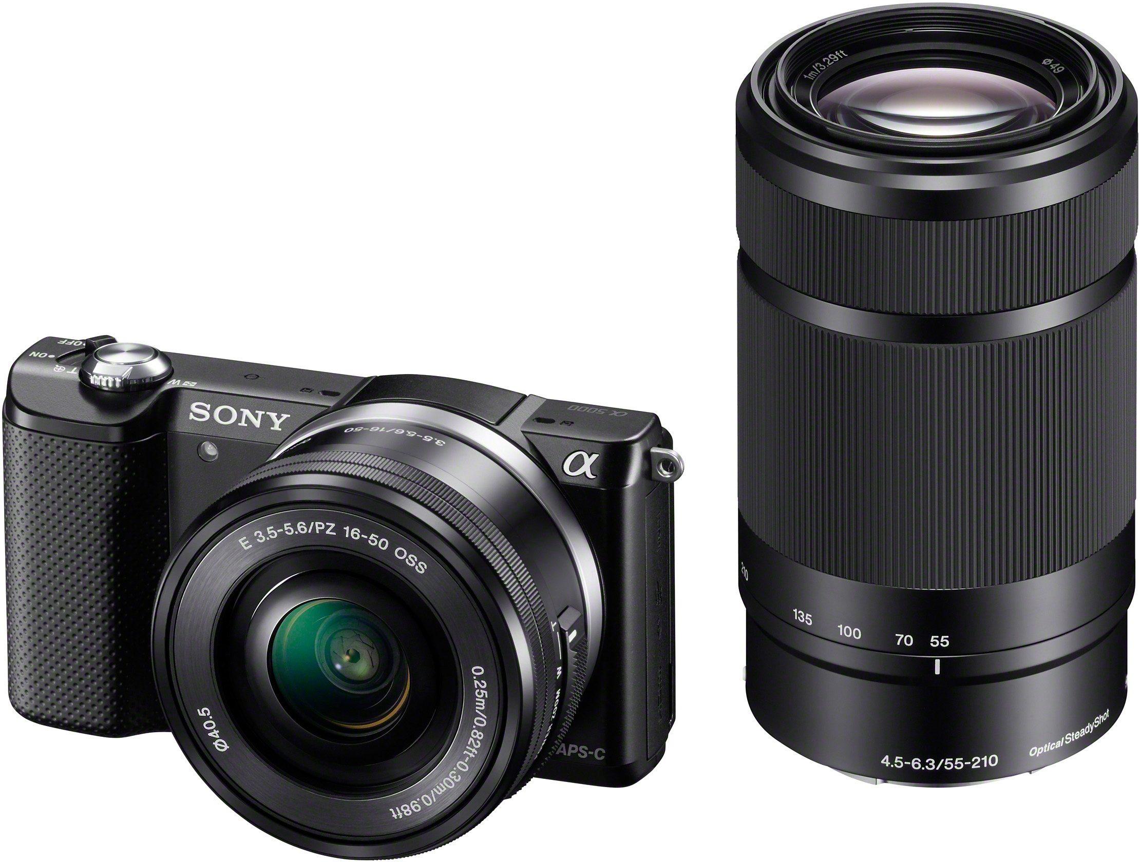 Sony Alpha ILCE-5000Y Set System Kamera, inkl. 2 SEL-Objektive (16-50mm & 55-210mm), 20,1 Megapixel