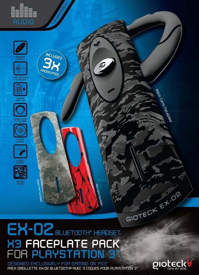 Gioteck Headset EX-02 Bluetooth kabellos (Triple Faceplate Pack) »(PS3)«